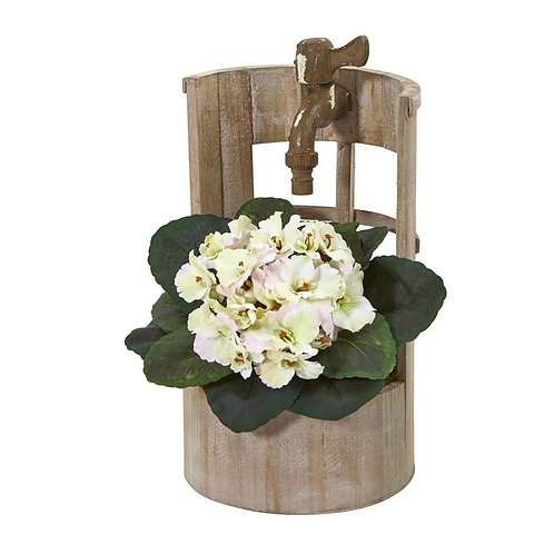 """12""""  African Violet Artificial Plant in Faucet Planter"""