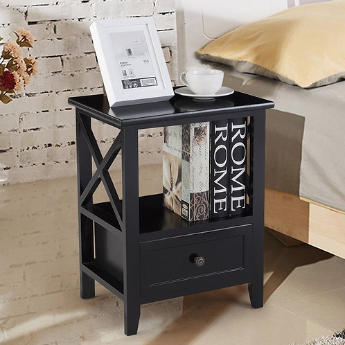 2 pcs Living Room End Side Nightstands with Storage Drawer-Black