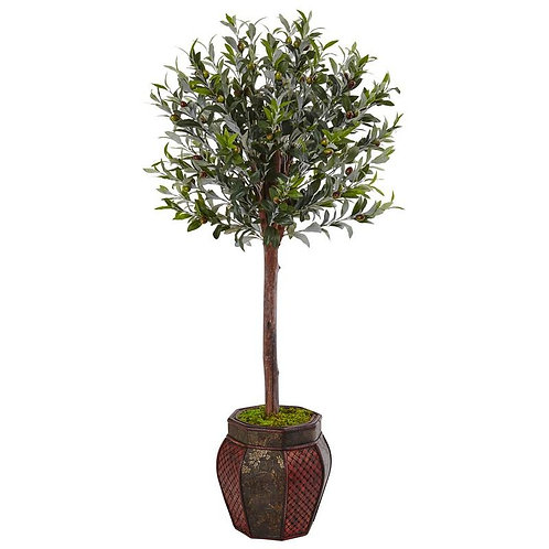 4.5' Olive Topiary Tree in Weave Panel Planter