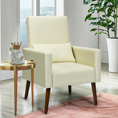 2-in-1 Fabric Upholstered Rocking Chair with Pillow-Beige