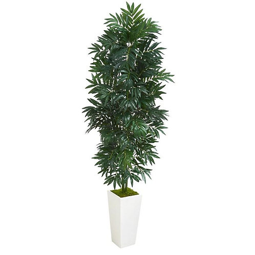 5' Bamboo Palm Artificial Plant in White Planter