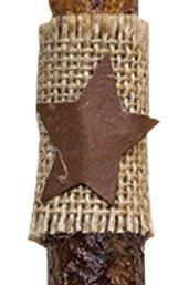 "6"" Burnt Mustard Burlap w/Star Timer Taper (Pack of 2)"