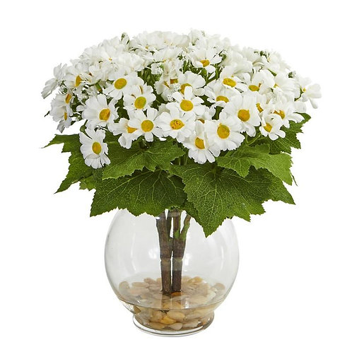 Daisy Artificial Arrangement in Fluted Vase