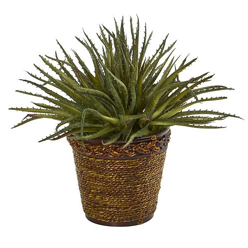 "13""  Aloe Artificial Plant in Basket"