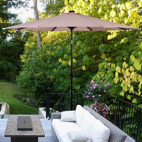 10FT Patio Solar Umbrella LED Patio Market Steel Tilt W/ Crank Outdoor New-beige