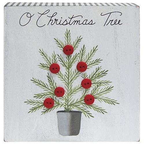 O Christmas Tree Gingham Box sign