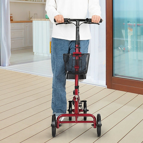 Foldable Knee Walker W/ Basket and Dual Brakes-Red
