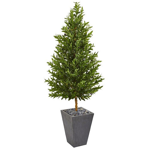 "67""  Olive Cone Topiary Artificial Tree in Slate Planter UV Resistant"
