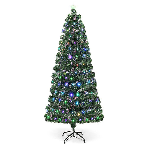5' / 6' / 7' Fiber Optic Artificial Christmas Tree with LED Lights-7'
