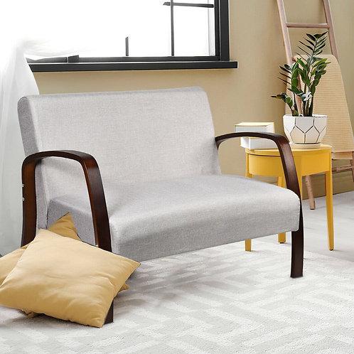 Mid Century Modern Fabric Upholstered Armchair Loveseat-Gray