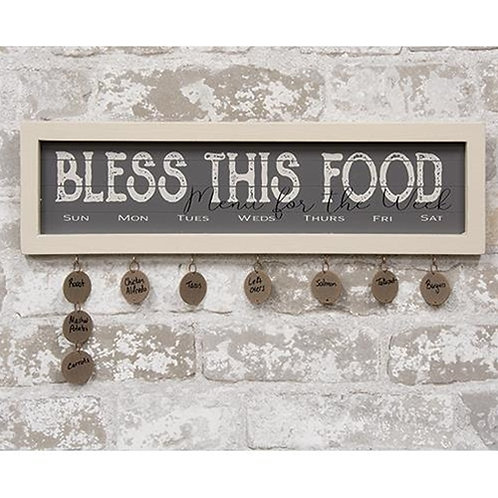Bless This Food Shiplap Framed Sign w/ Tags
