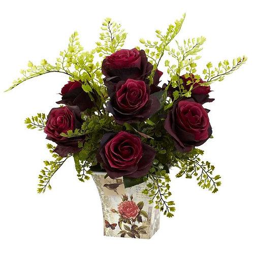 Rose & Maiden Hair w/Floral Planter