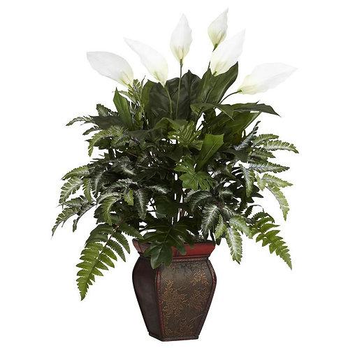 Mixed Greens w/Spathyfillum & Decorative Vase Silk Plant