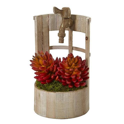 """12""""  Succulent Artificial Plant in Faucet Planter"""