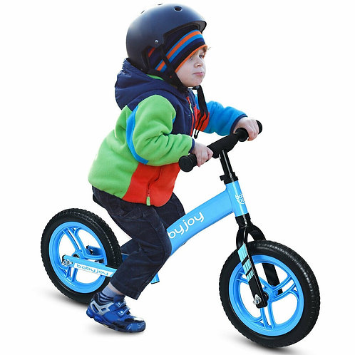 "12"" Kids No-Pedal Balance Bike with Adjustable Seat-Blue"