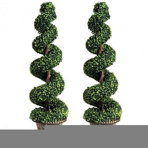 2-Set 4' Artificial  D�cor Green Boxwood Spiral Tree