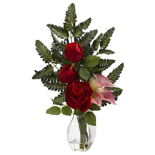 Rose & Calla w/Vase Arrangement