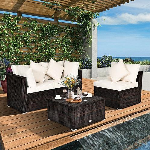 4 Pcs Patio Rattan Wicker Sofa Furniture Set