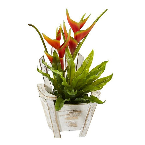 """16"""" Heliconia and Birds Nest Fern Artificial Plant in Chair Planter"""
