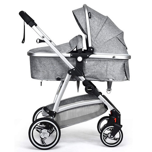 2 in 1 High Landscape Convertible Reversible Bassinet Pram-Light Gray