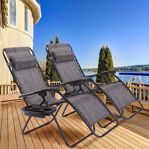 2 pcs Folding Lounge Chair with Zero Gravity-Gray
