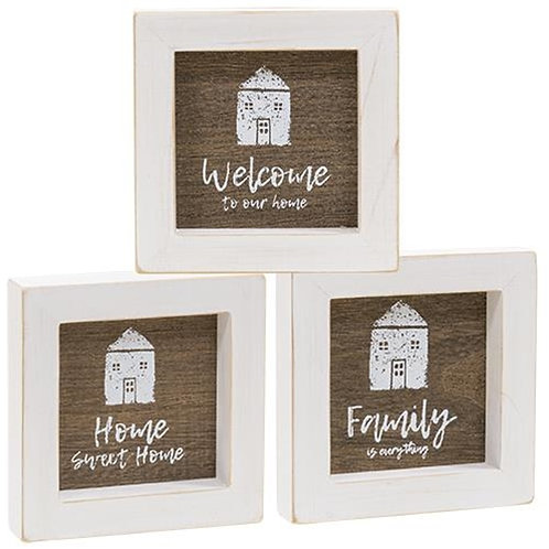 Pack of 4 *Welcome to Our Home Framed Sign 3 asst.