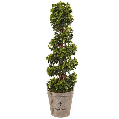 4' English Ivy Tree in Farmhouse Planter UV Resistant (Indoor/Outdoor)