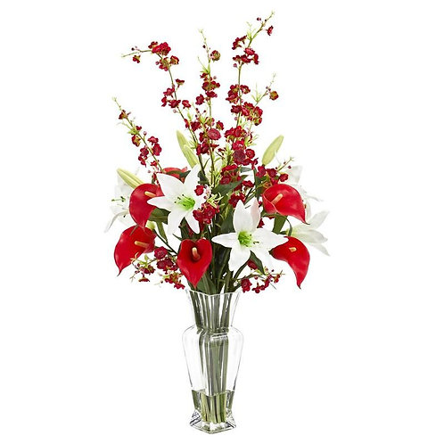Calla, Lily and Cherry Blossom Artificial Arrangement