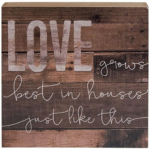 Pack of 2 *Love Grows Best Box Sign