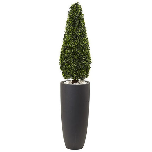"""50""""  Boxwood Topiary with Gray Cylindrical Planter UV Resistant (Indoor/Outdoor)"""