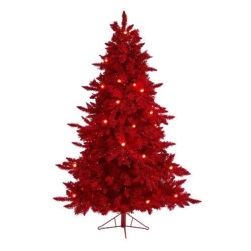 6' Red Flocked Fraser Fir Artificial Christmas Tree