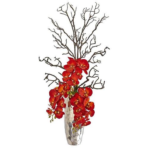Autumn Phalaenopsis Artificial Arrangement in Silver Vase