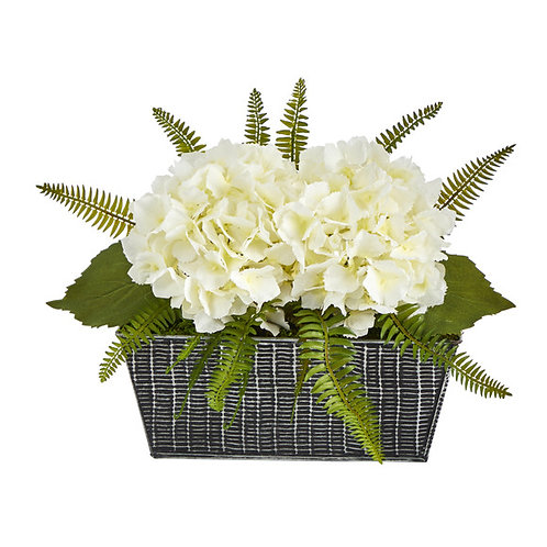 """11"""" Hydrangea and Fern Artificial Plant in Embossed Tin Planter"""