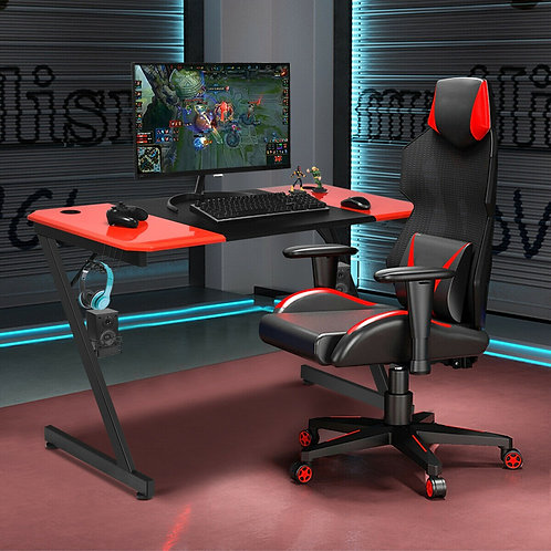 Computer Gaming Desk with Large Carbon Fiber Surface