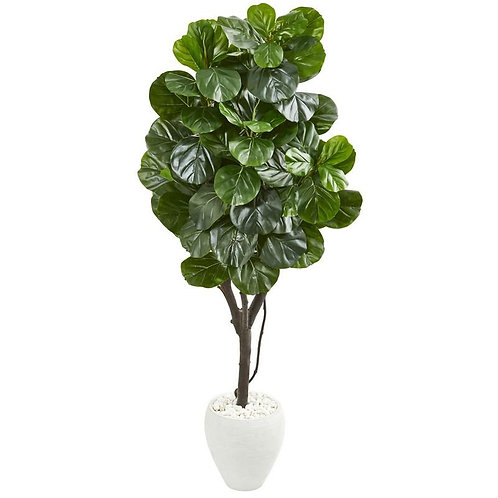 """68""""  Fiddle Leaf Fig Artificial Tree in White Planter"""