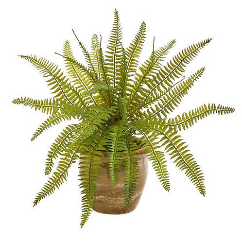 """10"""" Fern Artificial Plant in Ceramic Planter"""