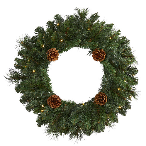 """20"""" Pine Artificial Christmas Wreath with 35 LED Lights and Pinecones"""