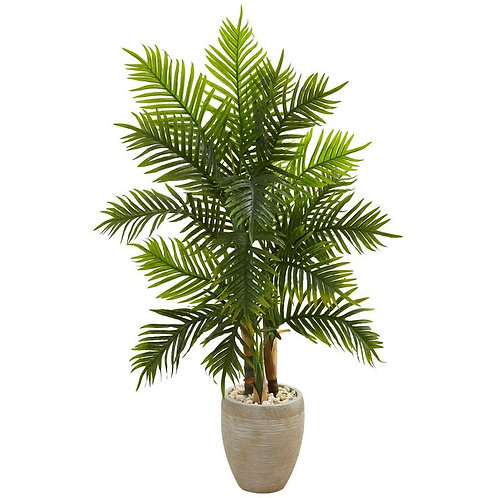 5' Areca Palm Artificial Tree in Sand Colored Planter (Real Touch)