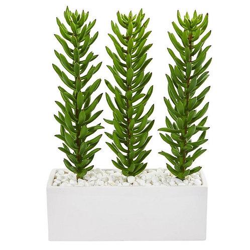 16' Succulent Spikes Artificial Plant in White Ceramic Vase
