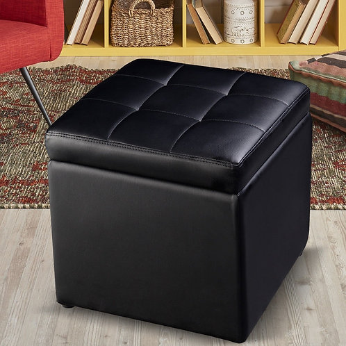Foldable Cube Ottoman Pouffe Storage Seat