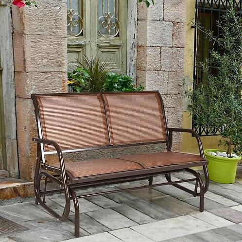 """Swing Glider Chair 48"""" Loveseat Rocker Lounge Backyard-Brown"""