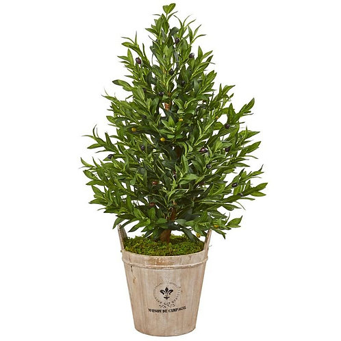 """38""""  Olive Cone Topiary Artificial Tree in Farmhouse Planter"""