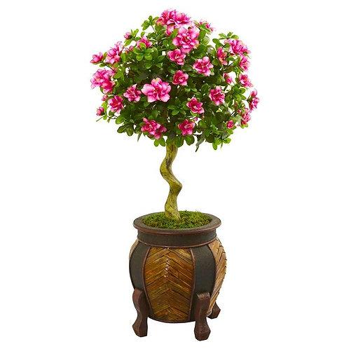 """42""""  Azalea Artificial Topiary Tree in Decorative Planter"""