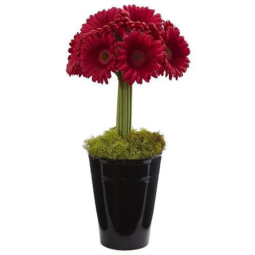 Gerber Daisy Artificial Arrangement in Black Vase