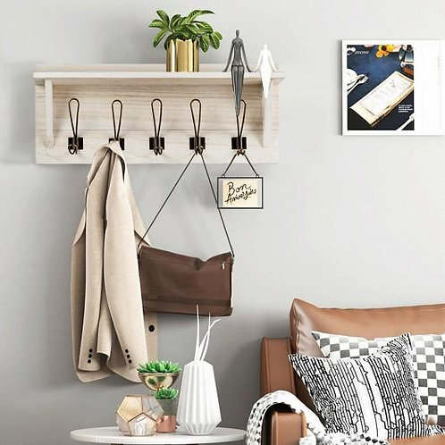 Rustic Wooden Wall-Mounted Entryway Hanging Shelf-White