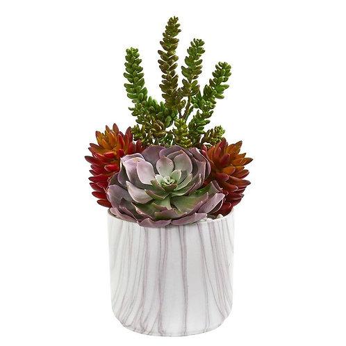 """16"""" Echeveria and Sedum Succulent Artificial Plant in Vase"""