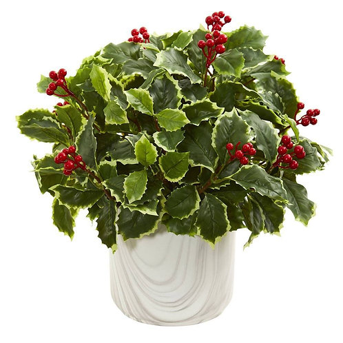 Variegated Holly Leaf Artificial Plant in Vase (Real Touch)