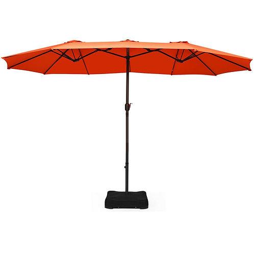 15 Ft Patio Umbrella Outdoor Umbrella with Crank & Base-Orange
