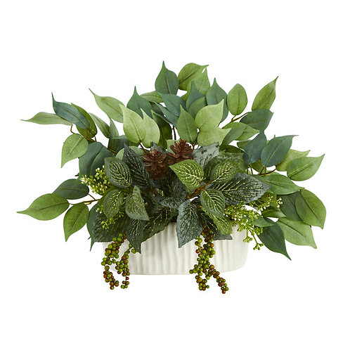 "14"" Mixed Greens Artificial Plant in White Planter"