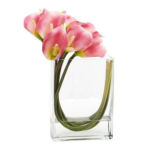 12'' Calla Lily in Rectangular Glass Vase Artificial Arrangement